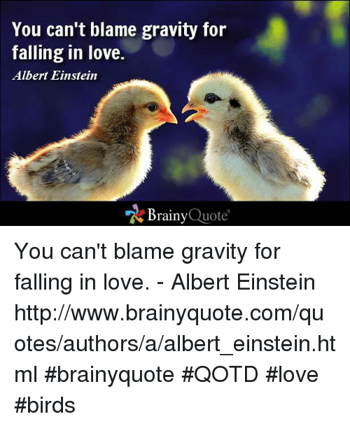 You Can T Blame Gravity For Falling In Love Albert Einstein Brainy Quote You Can T Blame Gravity For Falling In Love Albert Einstein Httpwwwbrainyquotecomquotesauthorsaalbert Einsteinhtml Brainyquote Qotd Love Birds Albert Einstein Meme