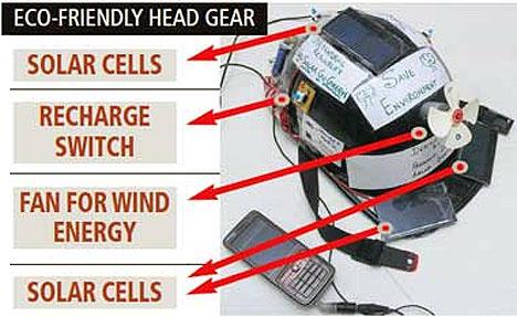 """Как известно, все электронные мобильные устройства нуждаются рано или поздно в зарядке. Когда рядом есть розетка, проблем нет, а если её нет, а вы едете на мотоцикле за много километров от цивилизации? Как заряжать мобильный телефон в мотопробеге, придумали студенты из Индии, Nirma University, факультет электротехники и планирования.  Они придумали устройство, совмещающее в себе мотоциклетный шлем и источник электроэнергии одновременно. Такой шлем снаружи покрыт солнечными батареями, от которых будет заряжаться мобильный. Это изобретение будет запатентовано в ближайшее время и на университетском мероприятии Green fest, которое посвящено энергосберегающим технологиям.   """"Стоимость первой серии таких устройств будет около 23 долларов за единицу. Недорого и практично. И голова байкера защищена, и телефон заряжен."""""""
