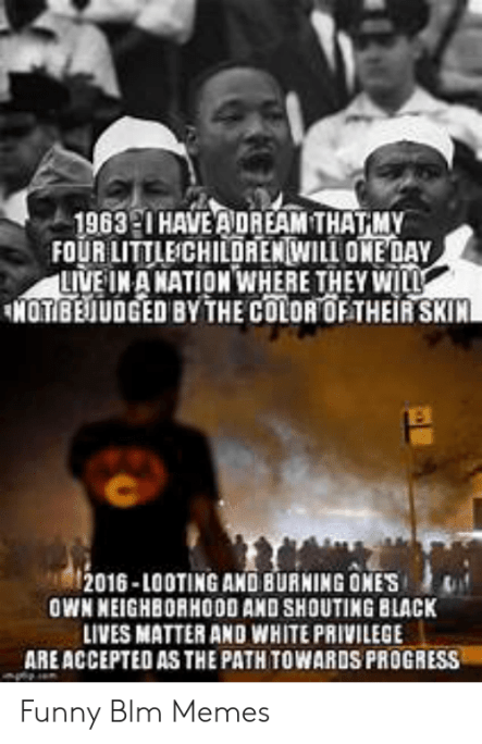 1963 20 HAVE ADREAM THATMY FOUR LITTLECHILDRENWILL ONE DAY LIVE INA NATION  WHERE THEY WILL NOTBEJUDGED BY THE COLOR OF THEIR SKIN 2016-Looting AND  BURNING ONES OWN NEIGHBORHOO0 AND SHOUTING BLACK LIVES