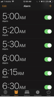 set alarm for 5 a.m.