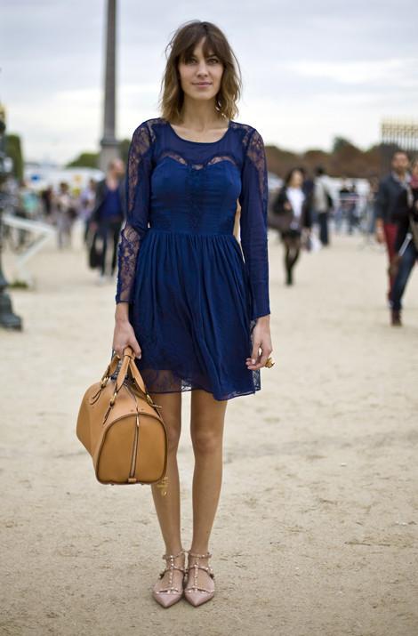 Alexa Chung In Whistes Rosalind Dress Paris Street