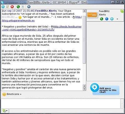 FeedBlitz a través de Skype