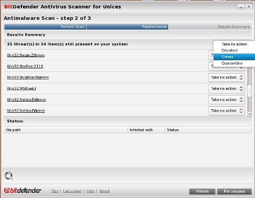 Bitdefender en Linux, acciones después de la detección