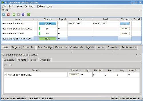 Pantalla principal de GSD, el cliente de escritorio de OpenVAS