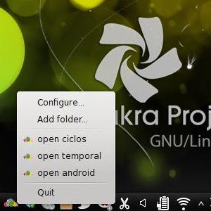 owncloud-client en el system tray de Chakra Linux