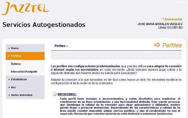 Panel de control de clientes de Jazztel - Servicios autogestionados