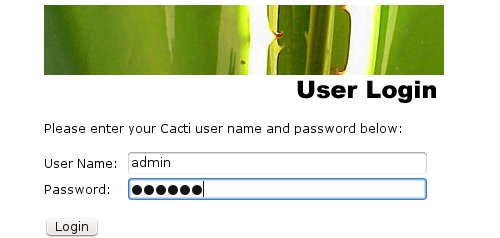 Login inicial en Cacti. Usuario admin y password admin