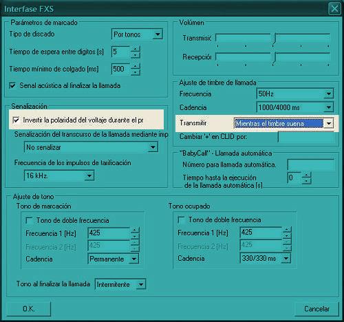 Ventana de programación de los parámetros de la línea telefónica del EasyGate 2N a través de PCManager