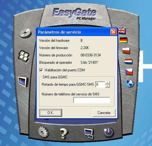 Ventana informativa del EasyGate 2n a través de PCManager donde se detalla el tipo de Hardware y de firmware