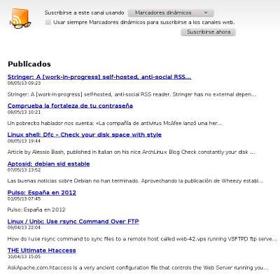 Publicación de feeds a través de tt-rss
