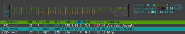 htop - mysql se come todo el tiempo de proceso de ambos cores