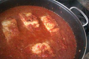 Bacalao con salsa de pimientos
