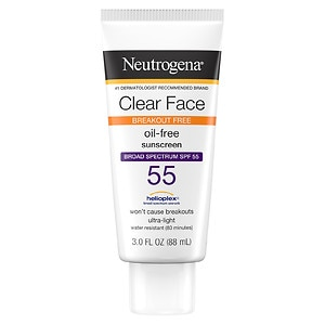 Neutrogena Clear Face Sunscreen Lotion, SPF 55- 3 oz