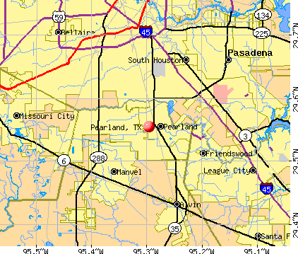 Pearland, TX map
