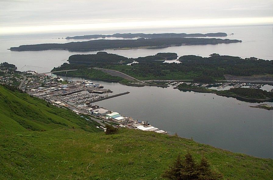 Kodiak, Αλάσκα: Μόνιμη Mountain πυλώνα κοιτάζοντας το Kodiak λιμάνι