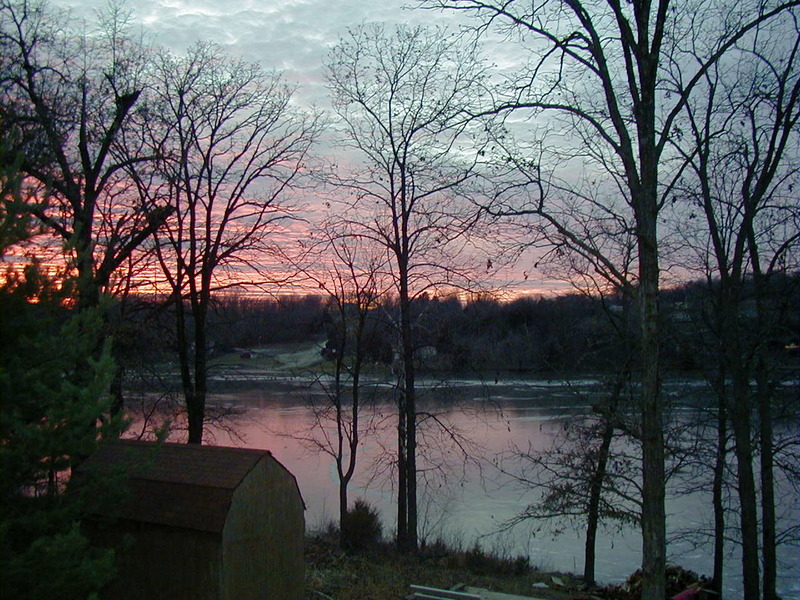 Crystal Lakes MO View Of The Lake With A Winter Sunset
