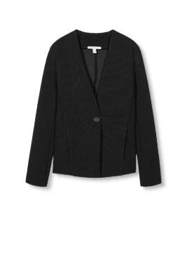 Esprit / Jersey blazer met ribstructuur
