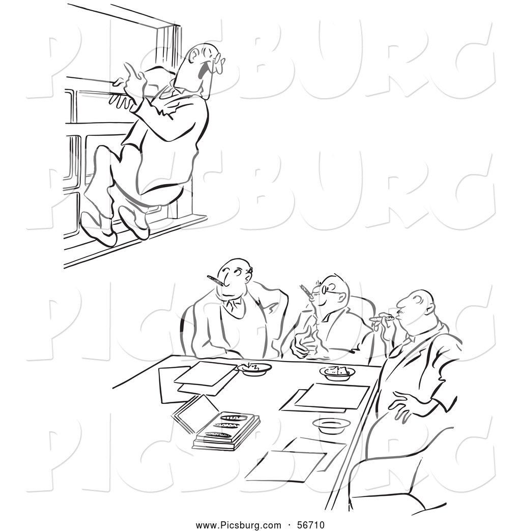 Clip Art Of An Old Fashioned Vintage Office Worker Man Leaping Out A Window At A Meeting Black