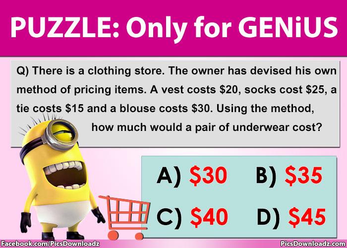 Solve this genius logic puzzles – Only for genius Puzzles