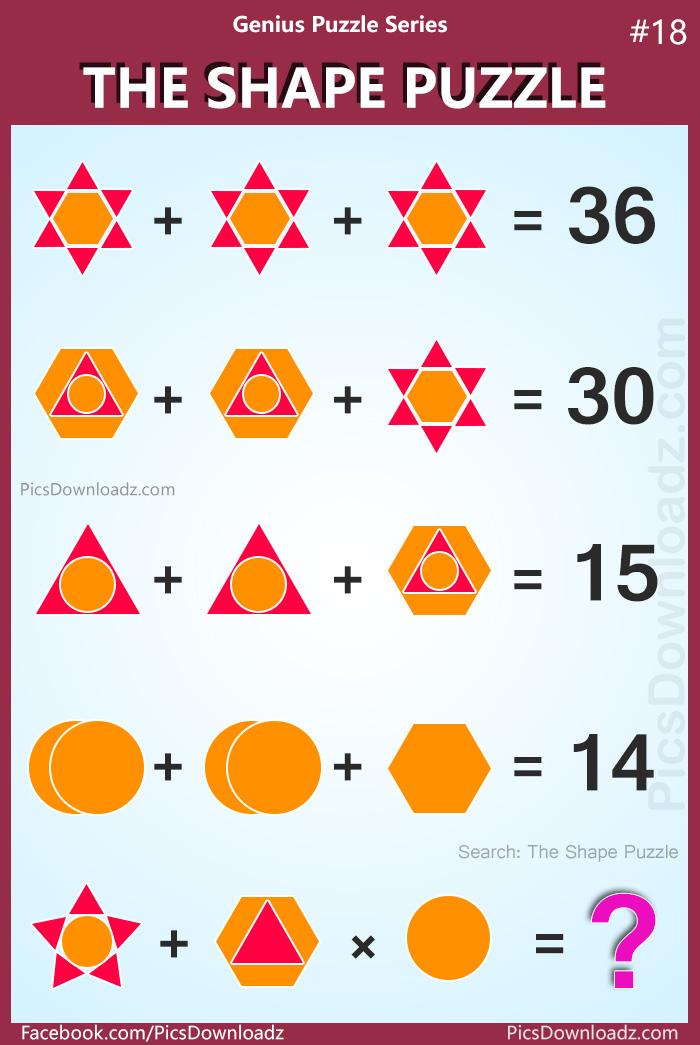The Shape Puzzle, Genius Puzzle Series 18. Best logical math puzzles, Viral math puzzle, Hexagon Triangle Circle Puzzle.