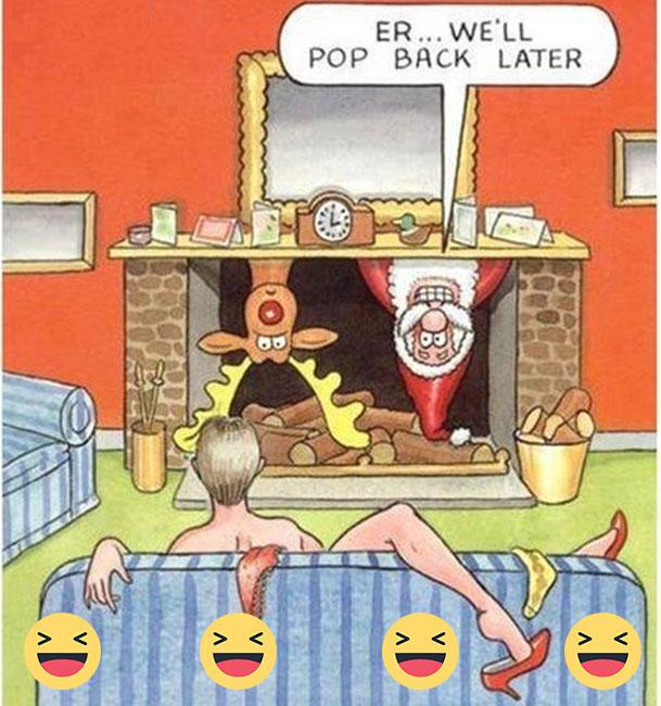 Santa entering in House - funny christmas Santa, bad timing entering in House - funny christmas Funny Christmas jokes Images, Funny Christmas, Santa Funny Images