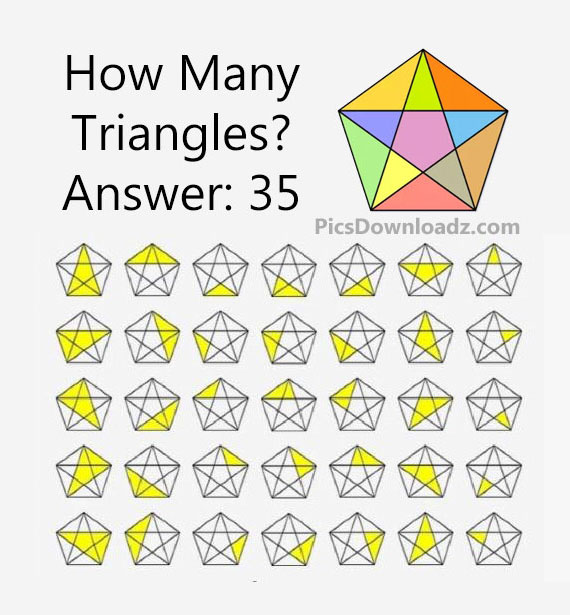 How Many Triangles Puzzle with correct answer. Brain teasers Math Puzzles Image. Viral Puzzles with solutions
