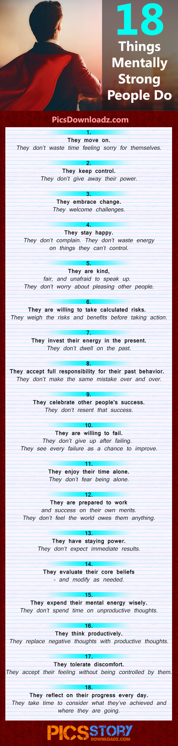 Mentally strong people have healthy habits. 18 Things Mentally Strong People Do, you can learn to improve your lifestyle. Life, Motivation, Life Hacks, Infographic
