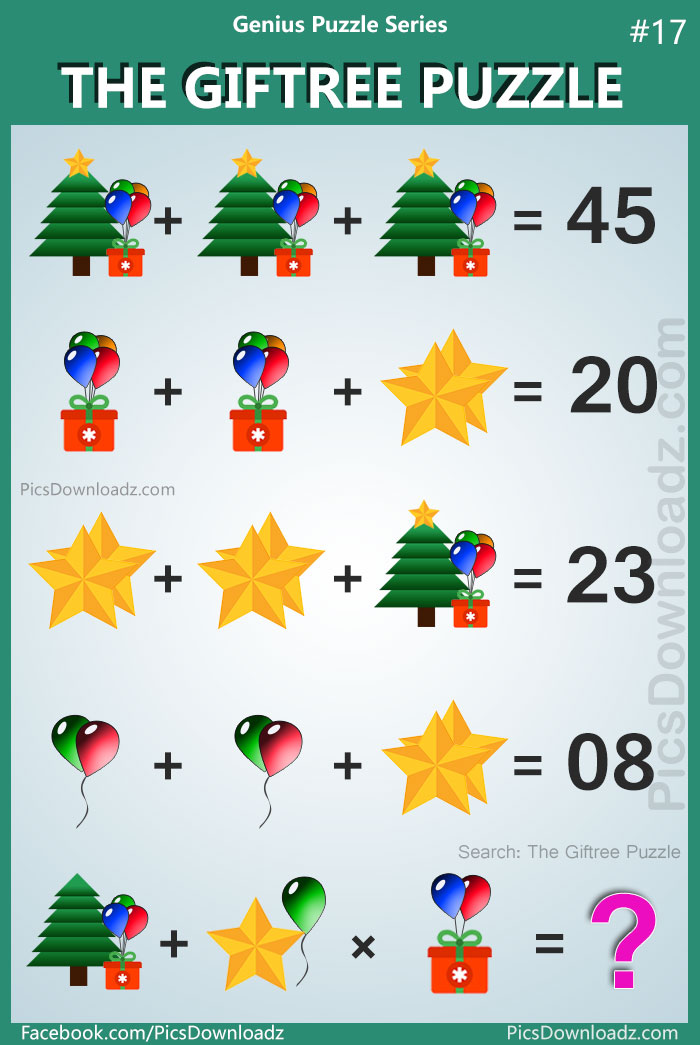 """Confusing logical math puzzles;95% will fail to attempt this logic math puzzle. """"TheGiftreePuzzle"""" Difficult Math Puzzles with answer! Search items: The Tree Gift Puzzle, Gift and Tree Puzzle, Tree Star Gift Puzzle, viral math puzzle, viral whatsapp puzzle."""