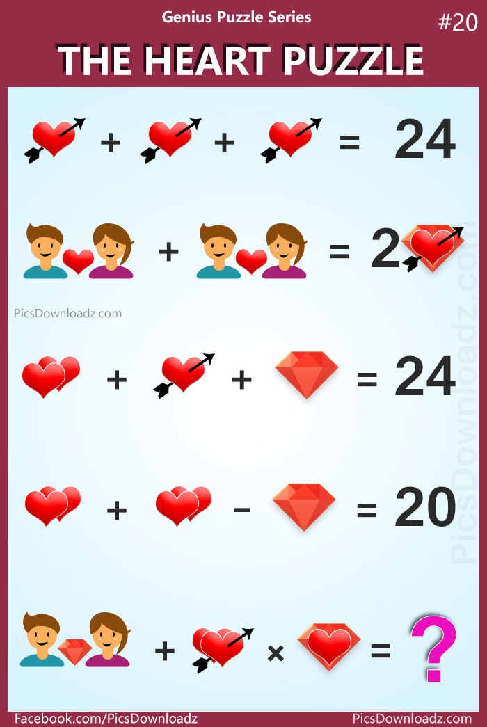 The Heart Puzzle: Genius Puzzle Series 20, Viral Math Puzzles, Heart Math Puzzles Image, Viral Facebook Math Puzzle Answer.