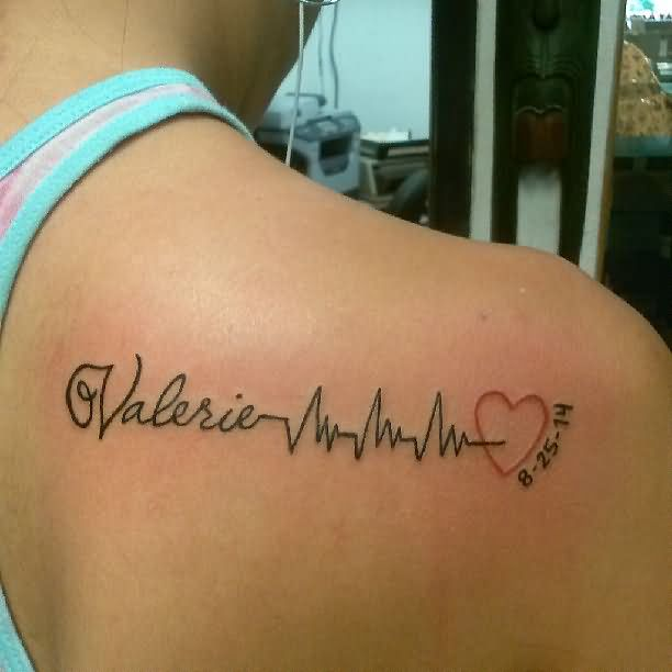 nice-black-ink-valerie-heartbeat-heart-date-tattoo-design-for-women-back