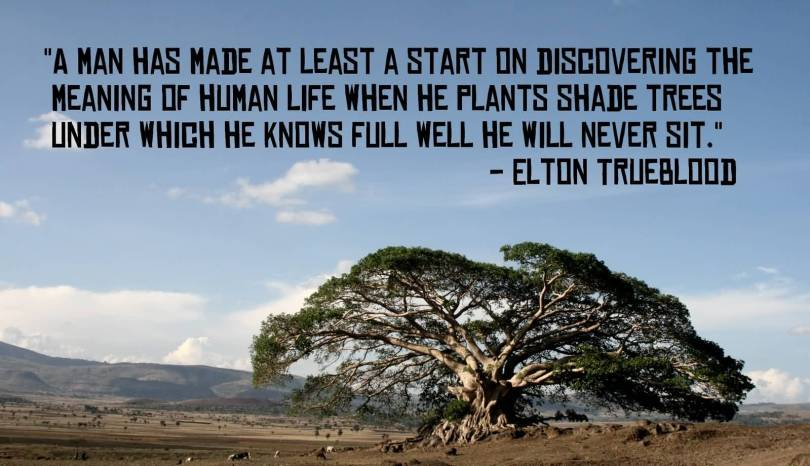 A man has made at least a start on discovering the meaning of human life when he plants shade trees under which he knows Elton True blood