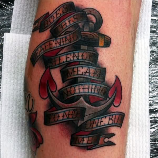 Amazing Anchor And Banner Tattoo For Men Calf Or Leg