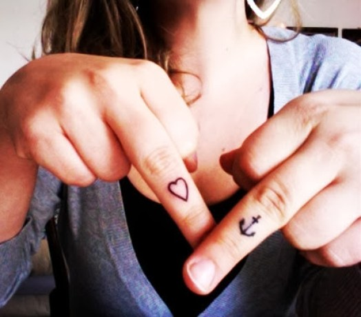 Amazing Black Ink Heart And Anchor Tattoo For Women Finger