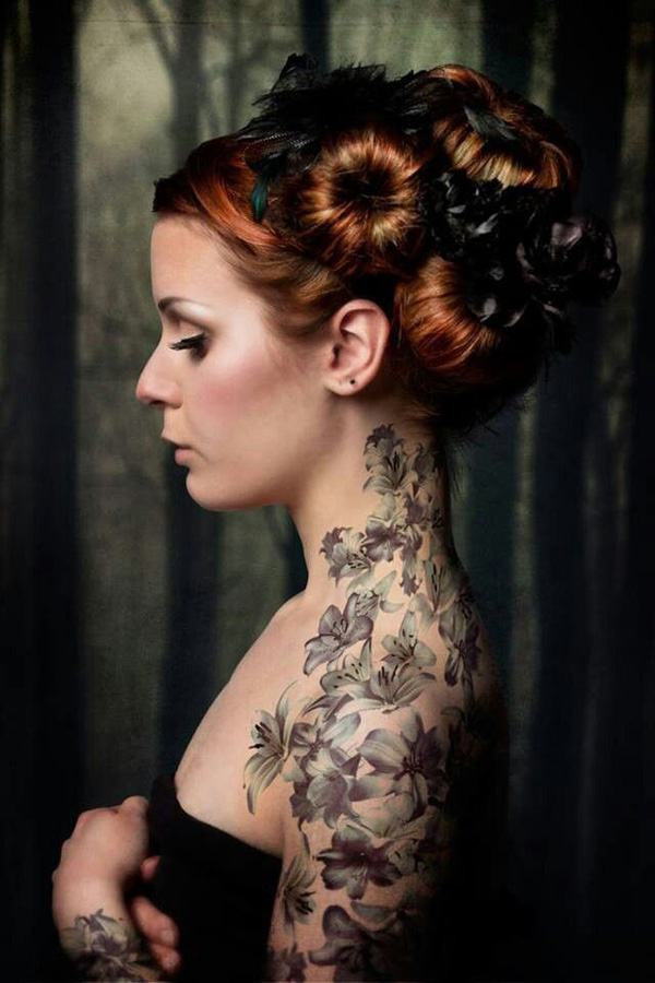 Amazing Flowers The Neck To The Arm Tattoo For Women