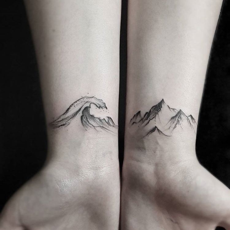 Amazing Grey Ink Water Wave and Mountain Tattoo On Wrist