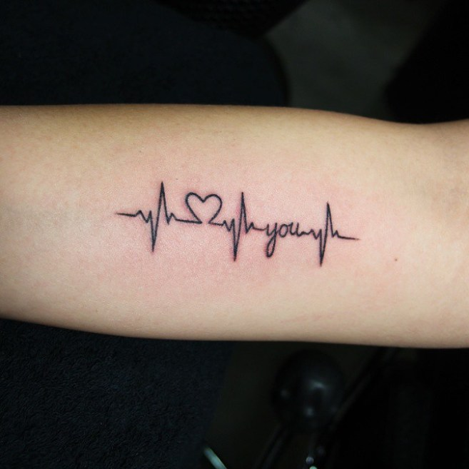 Amazing Heartbeat I Love You Tattoo On Men Arm