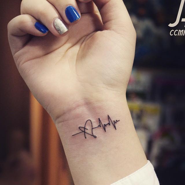 b7c08215e Awesome Small Black Ink Heart And Heartbeat Ekg Tattoo On Girl Wrist