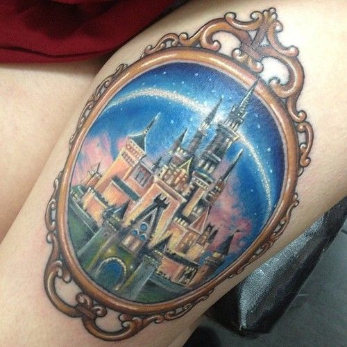 Beautiful Animated Mirror Disney Castle Tattoo For Girl Thigh