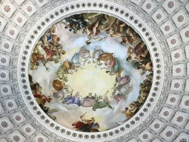 Beautiful Apotheosis Of George Washington Painting Inside United States Capitol