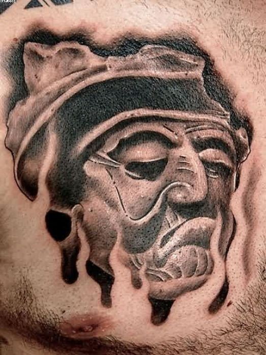 Beautiful Grey And Black Color Ink Old Face Tattoo On The Boy Chest