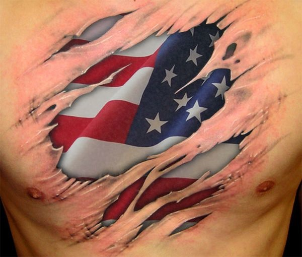 Best Animated American Flag Ripped Chest Tattoo For Men