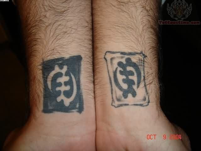 Cool Grey Color Ink African Symbol Tattoo On Wrist For Boys