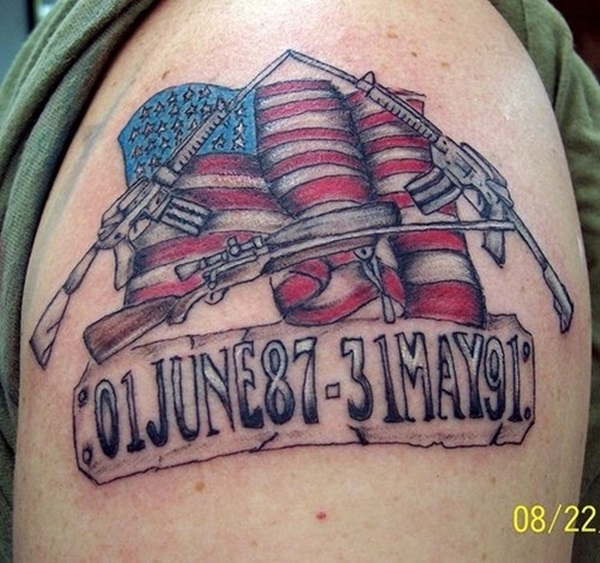 Coolest American Flag Infantry Army Memorial Tattoo On Men Shoulder