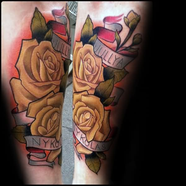 Coolest Banner With Yellow Rose Flower Tattoo On Men Forearm