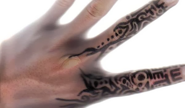 Coolest Black Ink Tribal Finger Tattoo Design For Men
