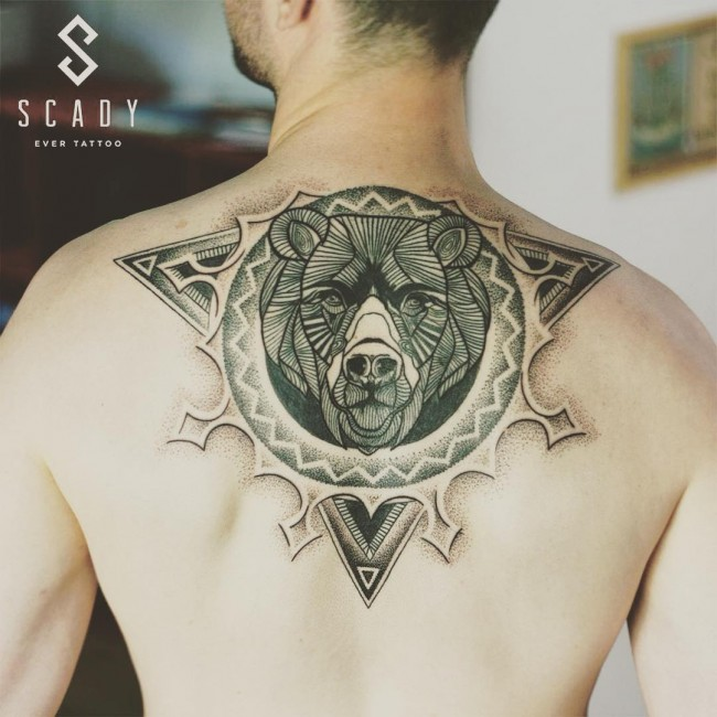 Coolest Grey Ink Bear Head Tattoo Design On Cool Men Back Body