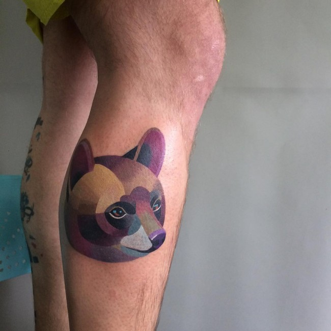 Coolest Purple Ink Unique Bear Face Head Tattoo Design On Men Leg