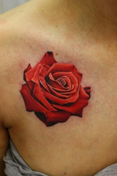 Coolest Red And Black Color Ink 3D Red Rose Tattoo On Girl's Chest For Girls