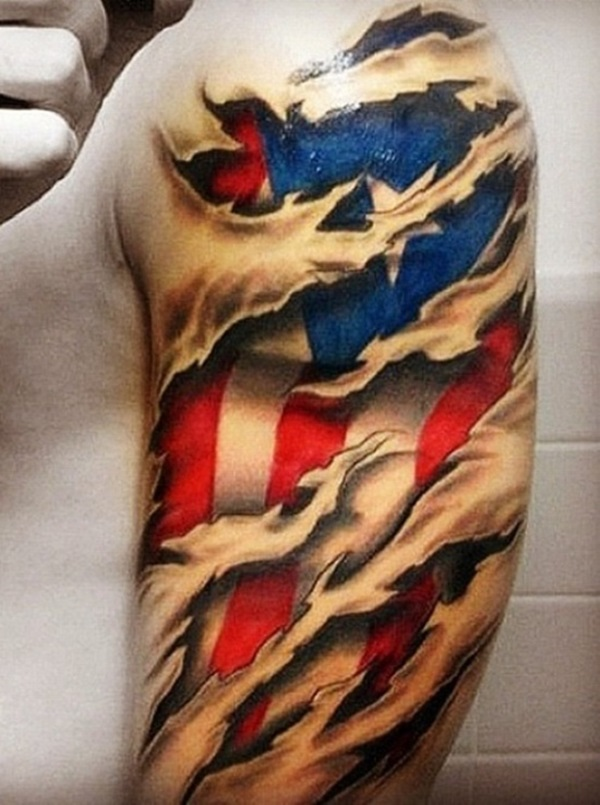 Coolest Ripped American Flag Red And Blue Ink Tattoo For Men Upper Arm