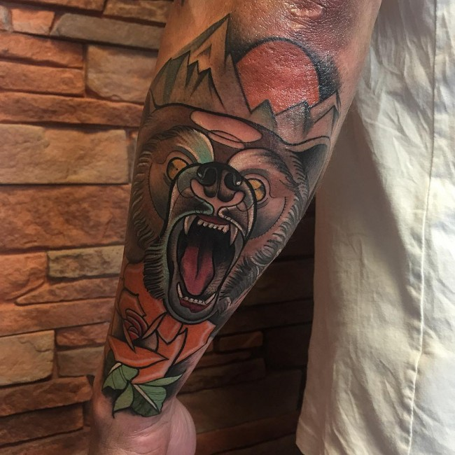 Coolest Scary Grey Ink Bear Angry Face Tattoo For Men Forearm